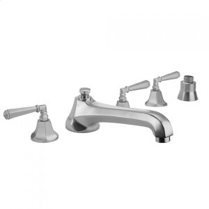 Antique Brass - Astor Roman Tub Set with Low Spout and Hex Lever Handles and Straight Handshower Mount Product Image