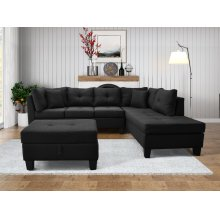 9127 Linen Fabric Sectional Sofa - Right