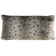 PONCA BOLSTER PILLOW- GRAY  Faux Fur  Down Feather Insert