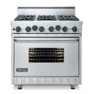 "Cotton White 36"" Open Burner Dual Fuel Range - VDSC (36"" wide range with four burners, 12"" wide char-grill, single oven)"