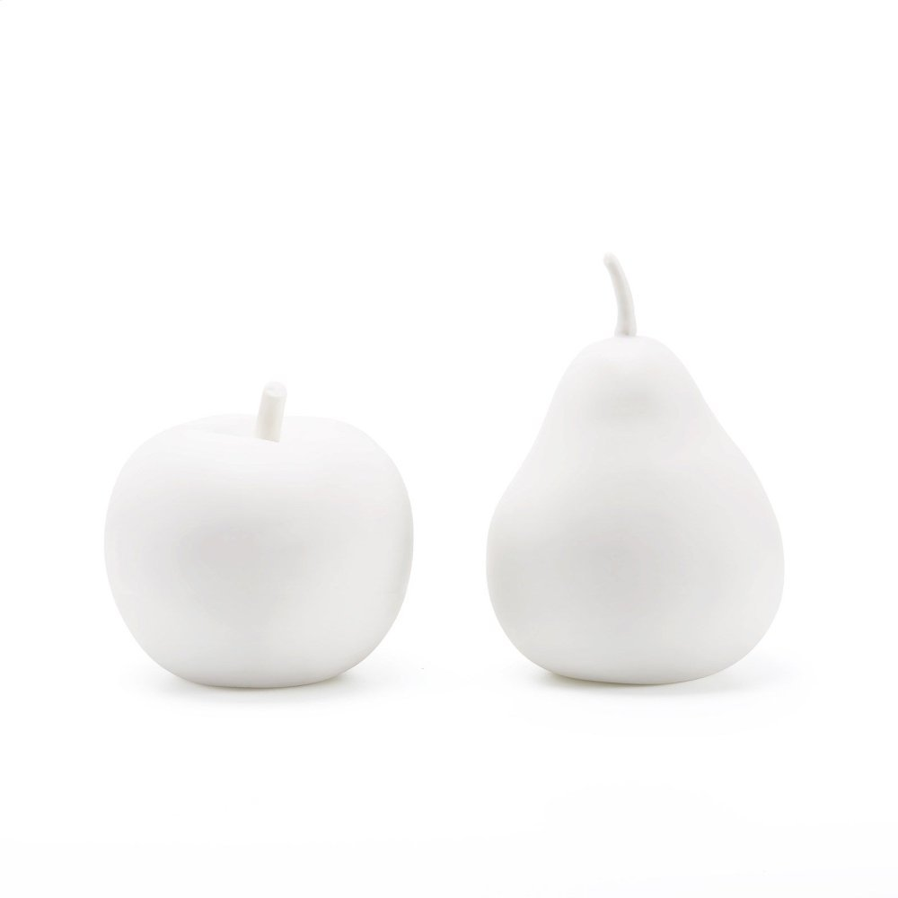 Apple & Pear Porcelain Figures, White