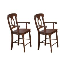 DLU-ADW-B50A-CT-2  Andrews Napoleon Barstool with Arms  Chestnut  Counter Height Stool  Set of 2