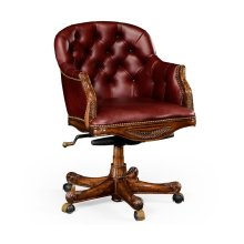 Chesterfield Style Mahogany Office Chair, Upholstered in Rich Red Leather
