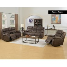 Aria 3PC Recliner Sofa Set with Power Head Rest in Saddle Brown Faux Leather