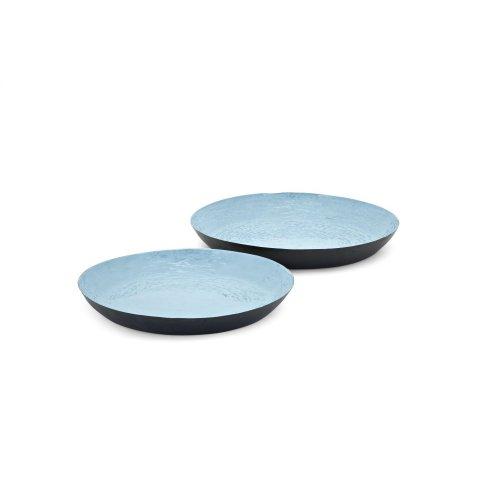 Calista Blue Enamel Finish Trays - Set of 2