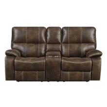 Emerald Home Jessie James Motion Console Loveseat Chocolate Brown U7130-09-15