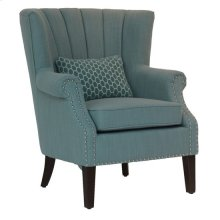 Avana Upholstered Channel Back Teal Accent Chair with Kidney Pillow