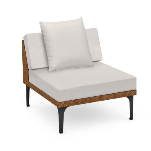 "32"" Outdoor Tan Rattan 1 Seat Centre Sofa Sectional, Upholstered in COM"
