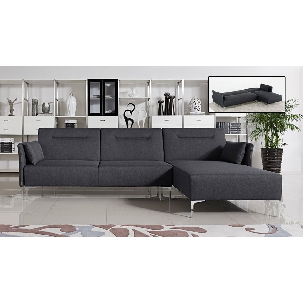 Divani Casa Rixton Modern Grey Fabric Sofa Bed Sectional