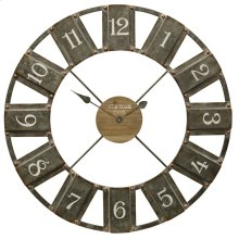 Galvanized and Wood  Clock  Traditional Industrial  Painted Metal and Wood