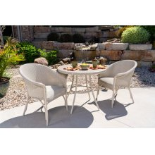 "All Seasons 33"" Round Bistro Table with Taupe Glass"