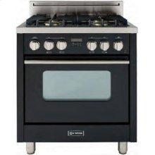"""High Gloss Black 30"""" Gas Range with Convection Oven"""