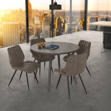 Mira/Aspira 5pc Dining Set, Grey/Brown