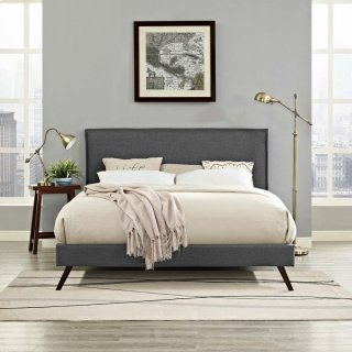 Amaris King Fabric Platform Bed with Round Splayed Legs in Gray