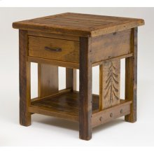 Sequoia Nightstand With Drawer and Shelf - (square)