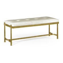 Gilded Iron & White Leather Bench