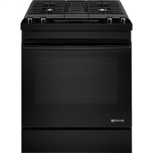 "30"" Dual-Fuel Downdraft Range, Black Floating Glass w/Handle"