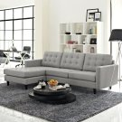 Empress Left-Facing Upholstered Fabric Sectional Sofa in Light Gray Product Image