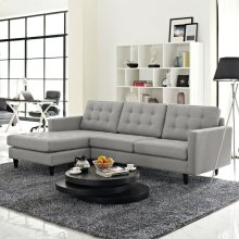 Empress Left-Facing Upholstered Fabric Sectional Sofa in Light Gray
