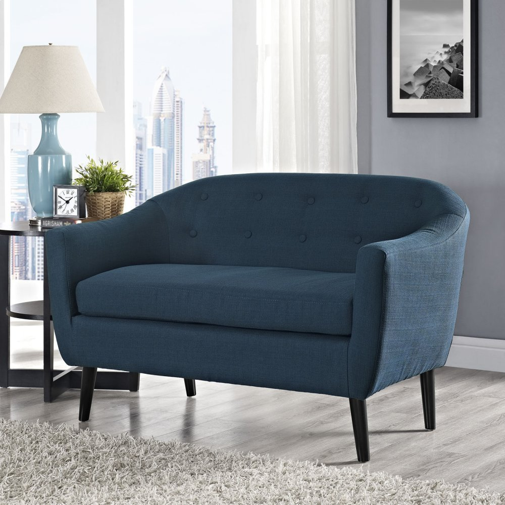 Wit Upholstered Fabric Loveseat in Azure