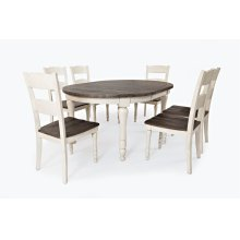 Madison County Round To Oval Table With 6 Chairs - Vintage White