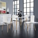 Stack Dining Chairs and Table Wood Set of 5 in White Product Image