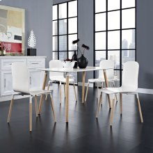 Stack Dining Chairs and Table Wood Set of 5 in White