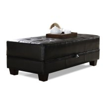 Storage Ottoman Jet Black Synthetic Leather