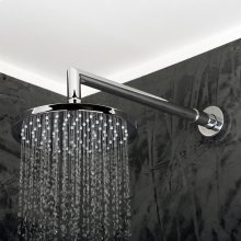 Wall-mount tilting round rain shower head, 75 rubber nozzles. Arm and flange sold separately.