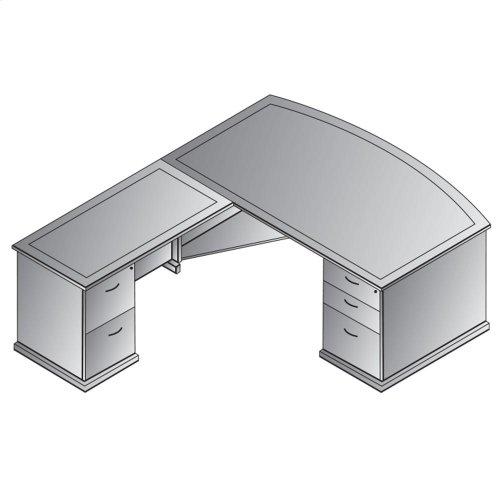 "Mendocino L Shape W/bow Top Desk 72""x90"""