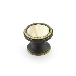 "Kingsway, Knob, Round, 1-1/4"" dia, Ancient Bronze, Almond Glass Product Image"