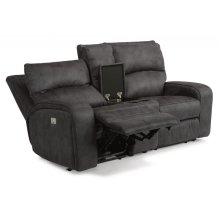 Rhapsody Fabric Power Reclining Loveseat with Console and Power Headrests