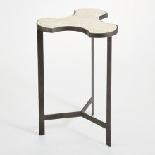 Link Bunching Table-Natural Iron w/Travertine Top