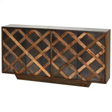 AGRA SIDEBOARD  Natural Finish on Reclamed Wood with Iron Detail  4 Door