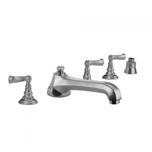 Antique Brass - Westfield Roman Tub Set with Low Spout and Ribbon Lever Handles and Straight Handshower Mount Product Image