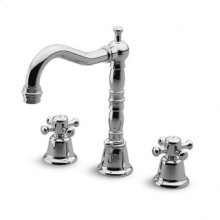 """3 hole basin mixer swivel spout with aerator 1 1/4"""" pop-up waste flexible tails."""