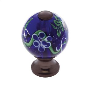 Old World Bronze 30 mm Blue Knob w/Flowers Product Image