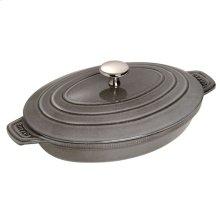 "Staub Cast Iron 9x6.6"" Oval Covered Baking Dish, Graphite Grey"