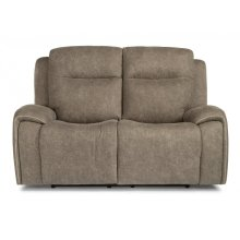 Solo Fabric Power Reclining Console Loveseat with Power Headrests (Item Also Available Without Console-As Pictured)