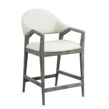 Barstool-slate Finish-w/upholstered Back & Seat-white Pu#r441-set Up