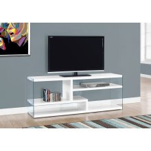 """TV STAND - 60""""L / GLOSSY WHITE WITH TEMPERED GLASS"""