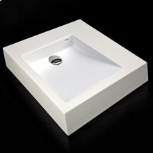 "Vessel Bathroom Sink made of solid surface, with an overflow. Finished back. Available with no faucet holes, one faucet hole or 3 holes in 8"" spread."