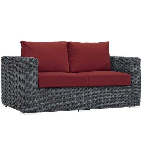 Summon Outdoor Patio Sunbrella® Loveseat in Canvas Red