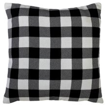 Black & White Buffalo Plaid Knit Floor Pillow with Leather Handle