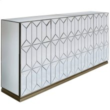 WATERFORD SIDEBOARD  Beveled Mirror with Champagne Finish  4 Door