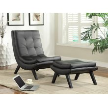 Tustin Lounge Chair and Ottoman Set With Black Fuax Leather Fabric & Black Legs