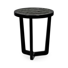 Small Black Gloss Side Table with Marble Top
