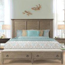 Myra - King/california King Upholstered Bench Storage Footboard - Natural Finish