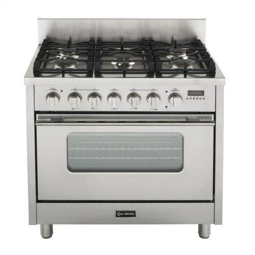 """Gloss Red 36"""" Dual Fuel Range with Convection Oven"""