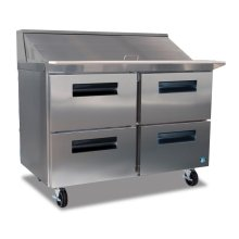 Refrigerator, Two Section Sandwich Top Prep Table with Drawers